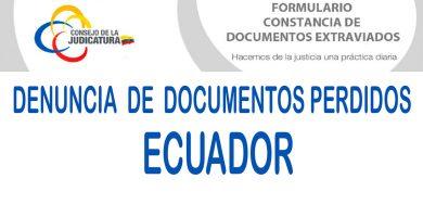 Denuncia de pérdida de documentos en Ecuador